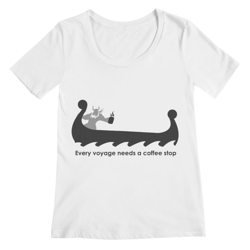 Coffee Voyage - B&W Women's Regular Scoop Neck by Pure Coffee Blog Shop