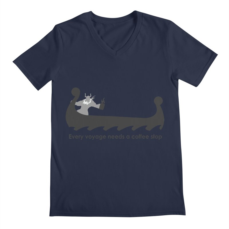 Coffee Voyage - B&W Men's Regular V-Neck by Pure Coffee Blog Shop