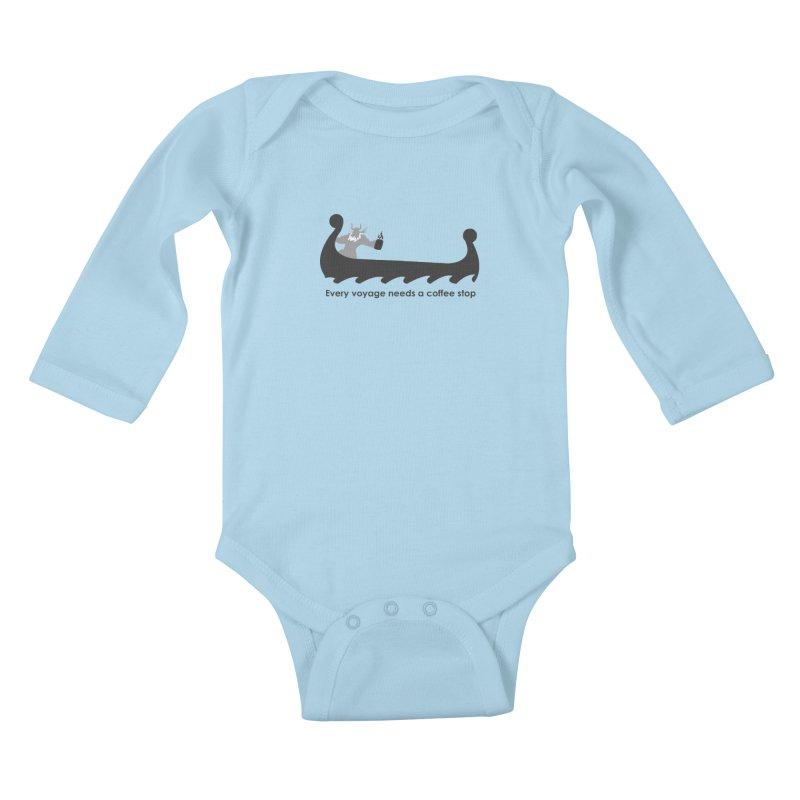 Coffee Voyage - B&W Kids Baby Longsleeve Bodysuit by Pure Coffee Blog Shop