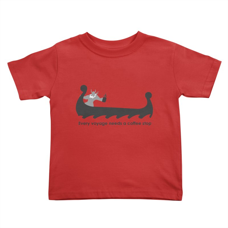 Coffee Voyage - B&W Kids Toddler T-Shirt by Pure Coffee Blog Shop