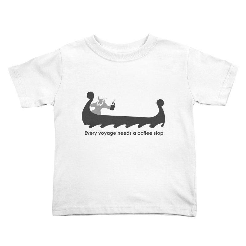 Coffee Voyage - B&W Kids Toddler T-Shirt by Pure Coffee Blog Shop