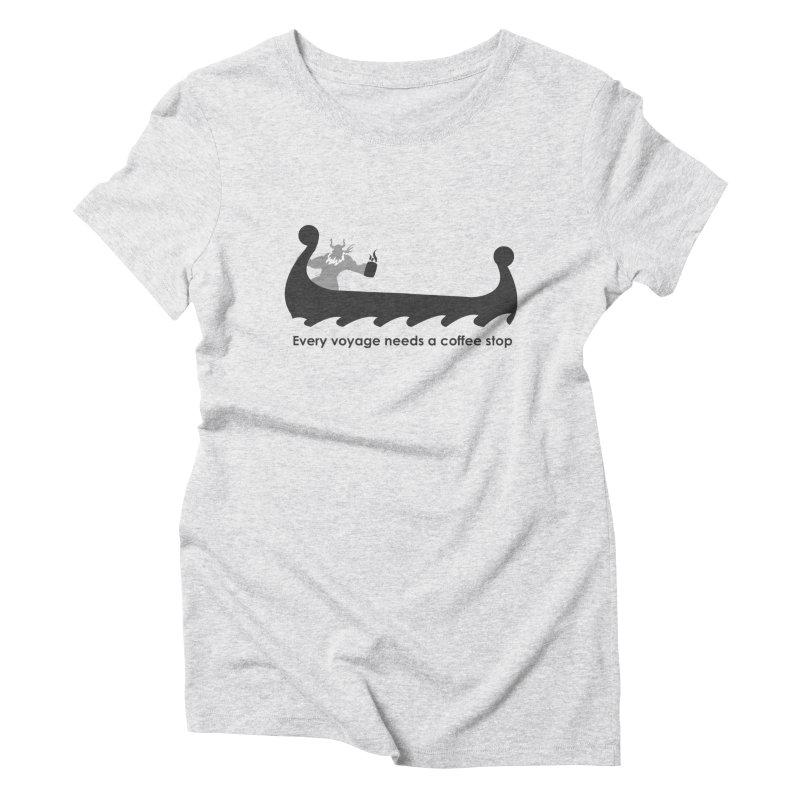 Coffee Voyage - B&W Women's T-Shirt by Pure Coffee Blog Shop
