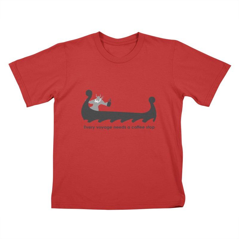 Coffee Voyage - B&W Kids T-Shirt by Pure Coffee Blog Shop