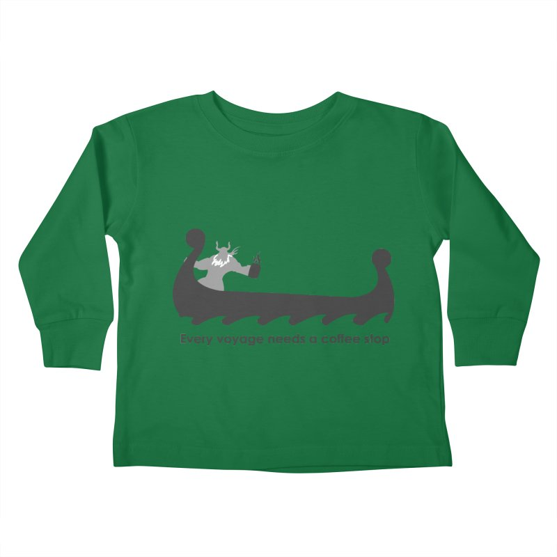 Coffee Voyage - B&W Kids Toddler Longsleeve T-Shirt by Pure Coffee Blog Shop