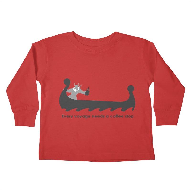 Coffee Voyage - B&W Kids Toddler Longsleeve T-Shirt by Pure Coffee Blog Shop