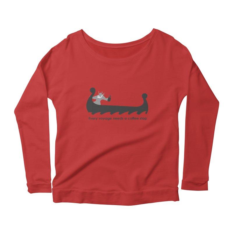 Coffee Voyage - B&W Women's Scoop Neck Longsleeve T-Shirt by Pure Coffee Blog Shop