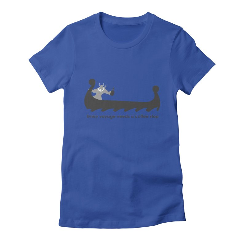 Coffee Voyage - B&W Women's Fitted T-Shirt by Pure Coffee Blog Shop