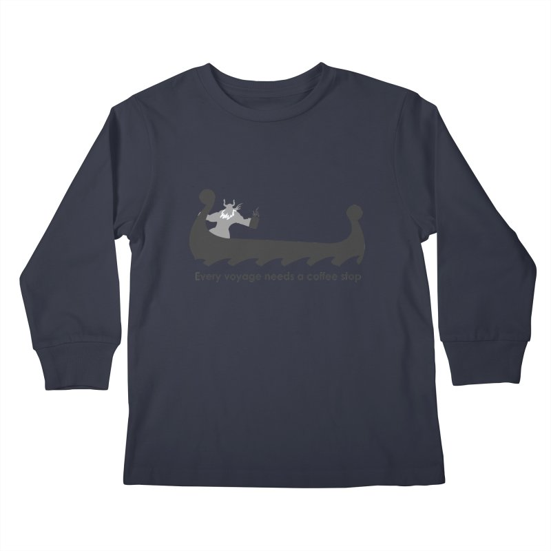 Coffee Voyage - B&W Kids Longsleeve T-Shirt by Pure Coffee Blog Shop