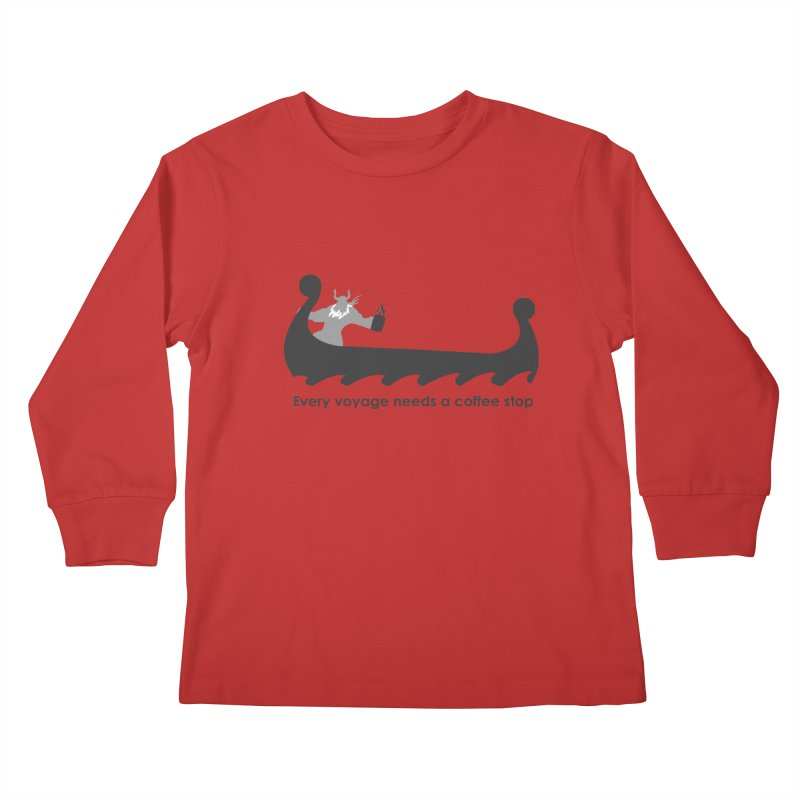 Coffee Voyage - B&W Kids Longsleeve T-Shirt by Pure Coffee Blog Shop