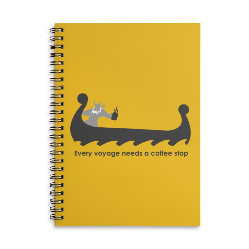 Coffee Voyage - B&W Accessories Lined Spiral Notebook by Pure Coffee Blog Shop