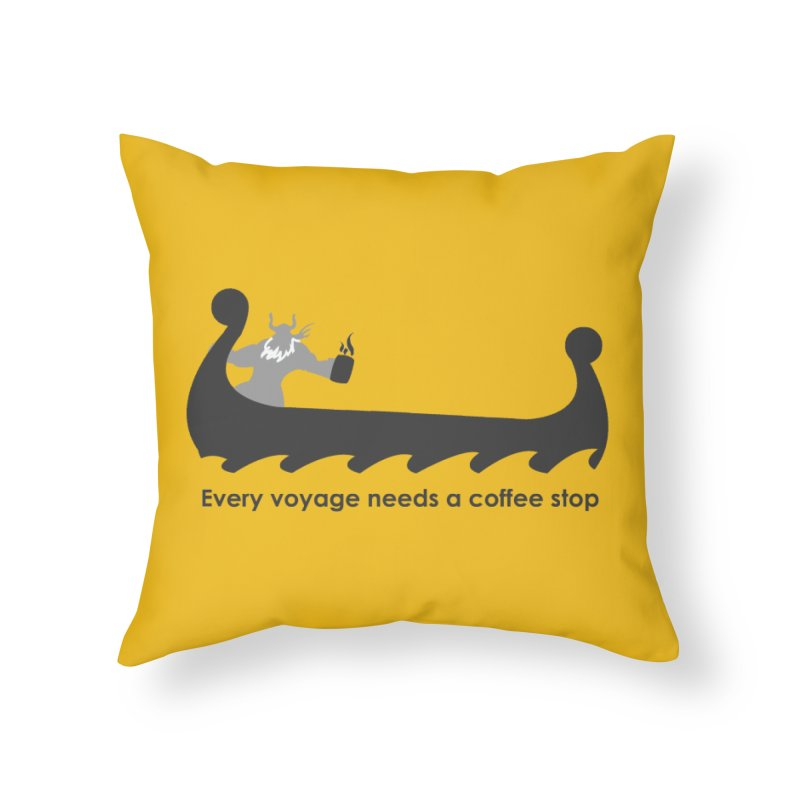 Coffee Voyage - B&W Home Throw Pillow by Pure Coffee Blog Shop