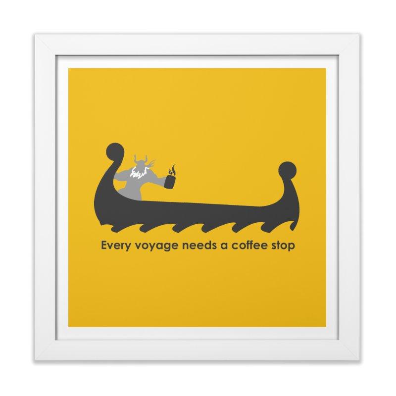 Coffee Voyage - B&W Home Framed Fine Art Print by Pure Coffee Blog Shop