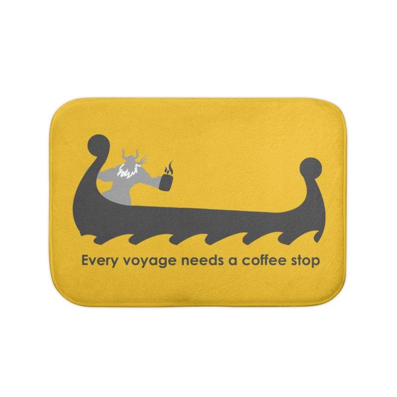 Coffee Voyage - B&W Home Bath Mat by Pure Coffee Blog Shop