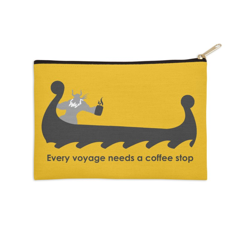Coffee Voyage - B&W Accessories Zip Pouch by Pure Coffee Blog Shop