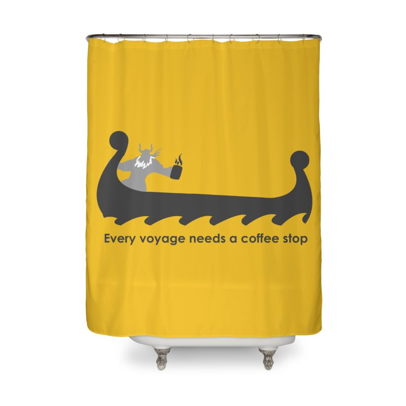 Coffee Voyage - B&W Home Shower Curtain by Pure Coffee Blog Shop