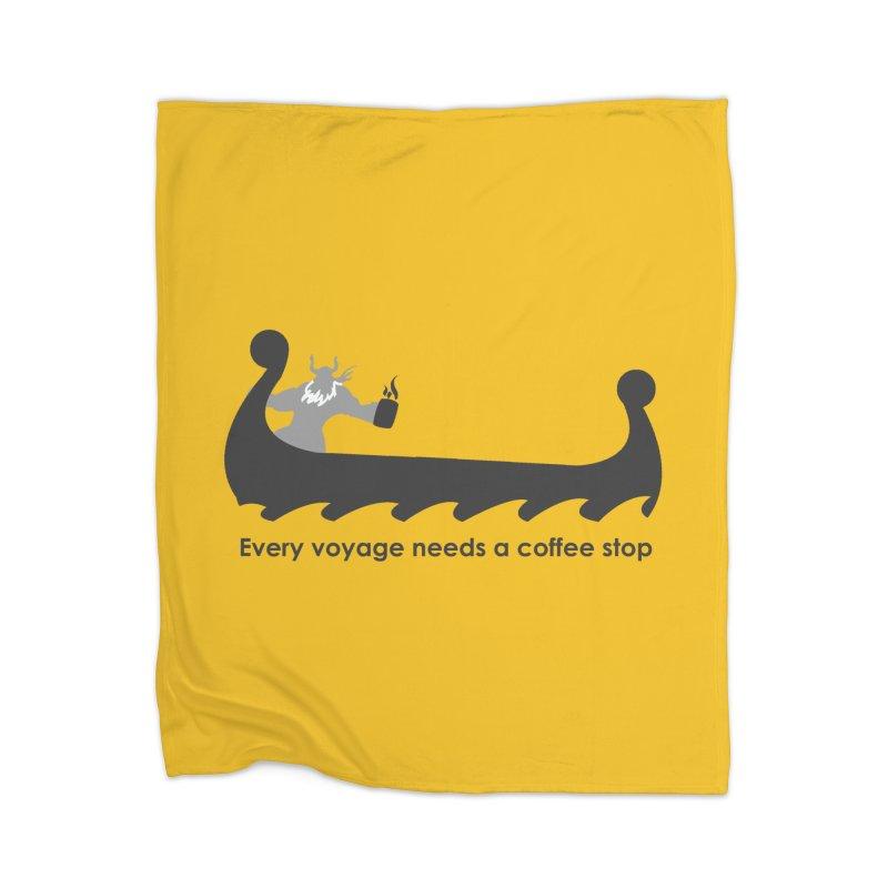 Coffee Voyage - B&W Home Blanket by Pure Coffee Blog Shop