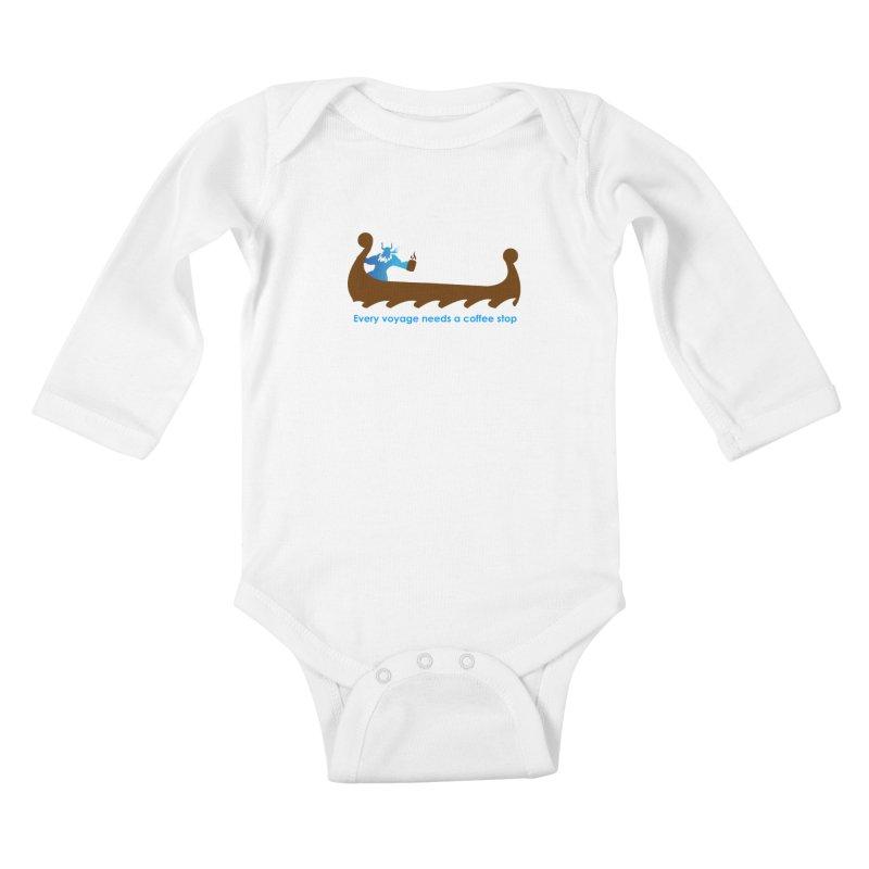 Coffee Voyage - In Color Kids Baby Longsleeve Bodysuit by Pure Coffee Blog Shop