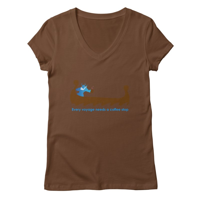 Coffee Voyage - In Color Women's Regular V-Neck by Pure Coffee Blog Shop