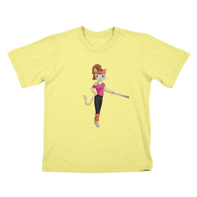 Dancer Cat (Fame style) in Kids T-shirt Canary by Purr City's Artist Shop