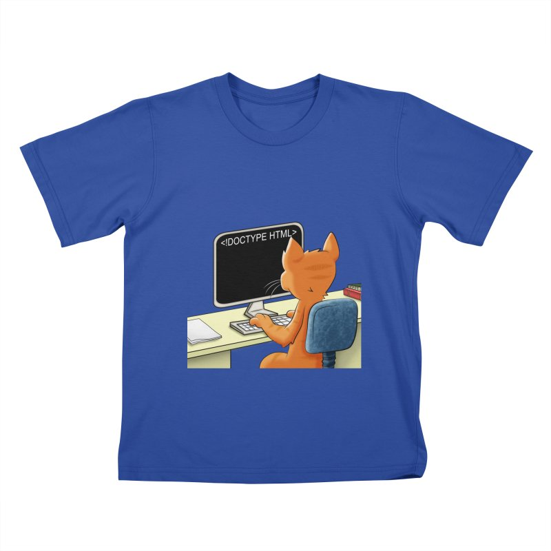 Computer Cat in Kids T-Shirt Royal Blue by Purr City's Artist Shop