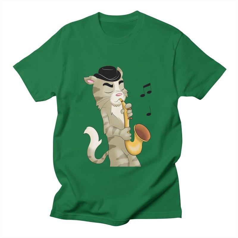 Saxophone Cat Men's T-Shirt by Purr City's Artist Shop