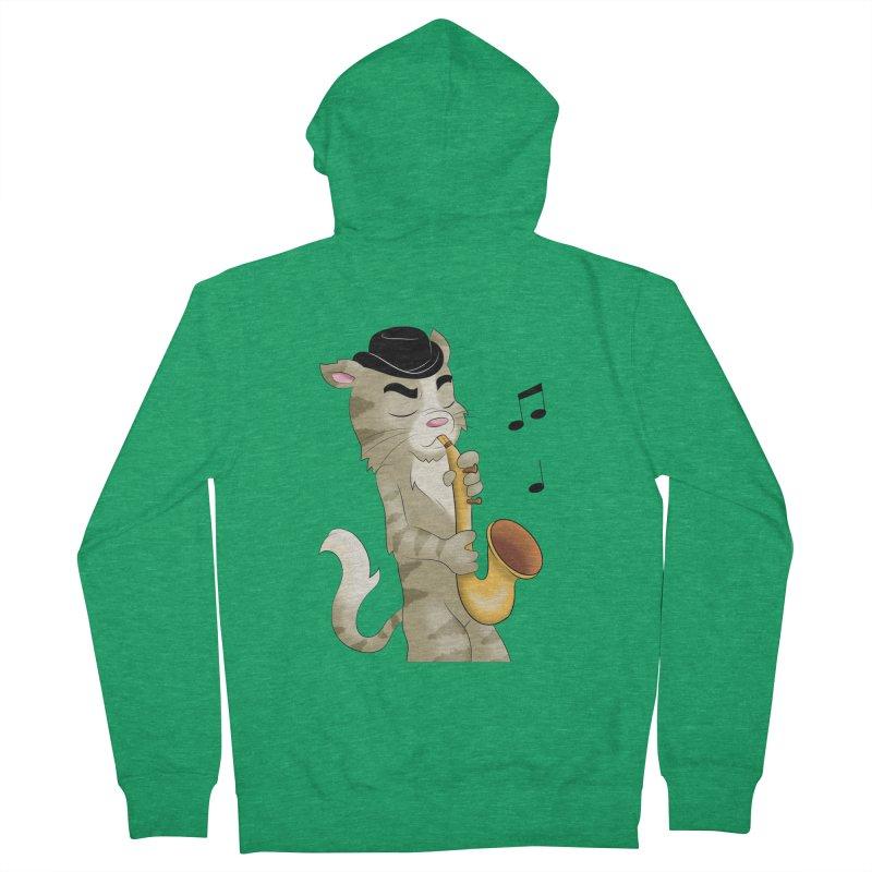 Saxophone Cat Men's Zip-Up Hoody by Purr City's Artist Shop