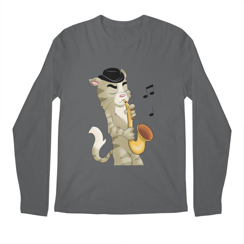 Saxophone Cat Men's Longsleeve T-Shirt by Purr City's Artist Shop