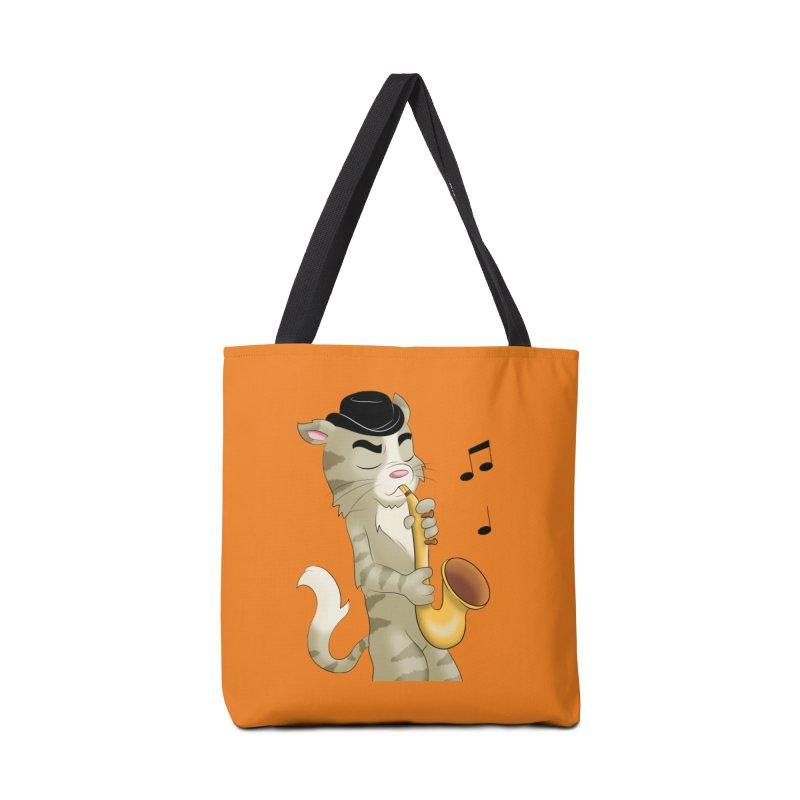 Saxophone Cat Accessories Bag by Purr City's Artist Shop