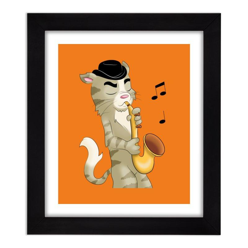 Saxophone Cat Home Framed Fine Art Print by Purr City's Artist Shop