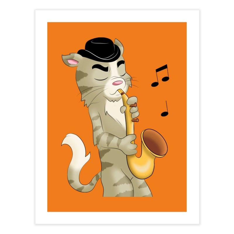 Saxophone Cat Home Fine Art Print by Purr City's Artist Shop