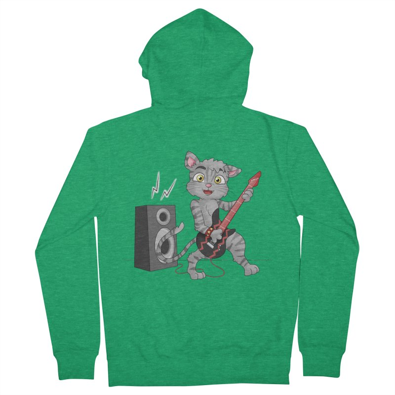 Rock Guitar Cat - Male Men's Zip-Up Hoody by Purr City's Artist Shop