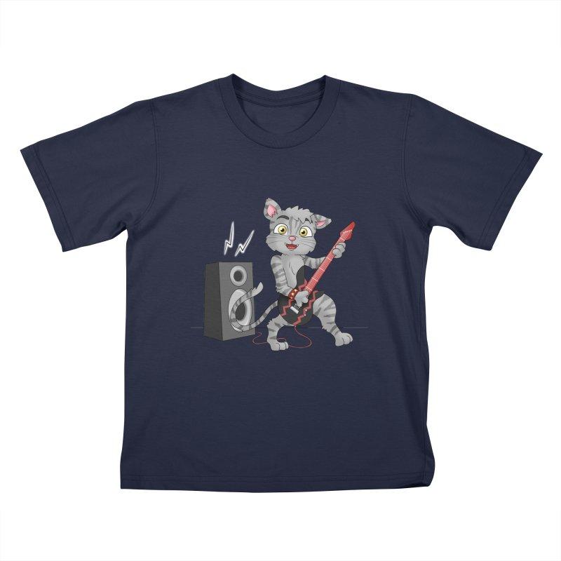 Rock Guitar Cat - Male Kids T-Shirt by Purr City's Artist Shop