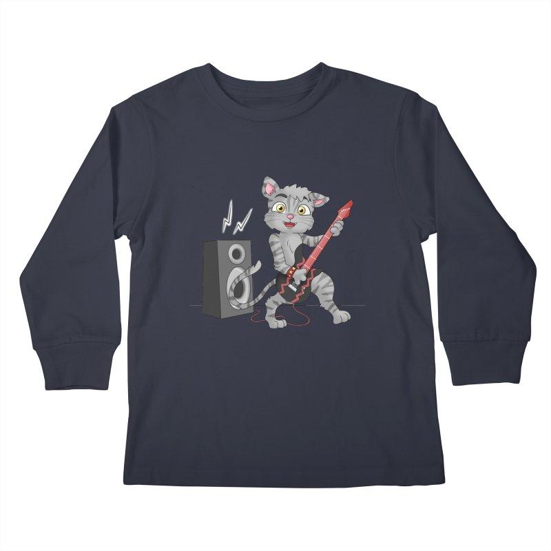 Rock Guitar Cat - Male Kids Longsleeve T-Shirt by Purr City's Artist Shop