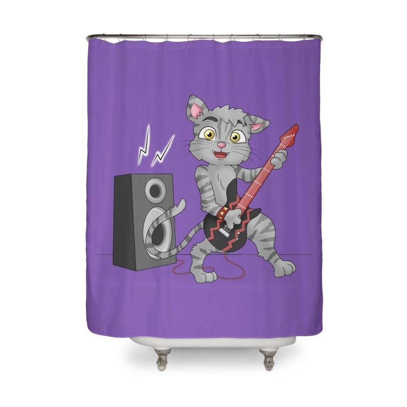 Rock Guitar Cat - Male Home Shower Curtain by Purr City's Artist Shop