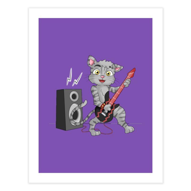 Rock Guitar Cat - Male Home Fine Art Print by Purr City's Artist Shop