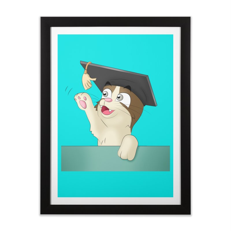 Graduation Cat Home Framed Fine Art Print by Purr City's Artist Shop