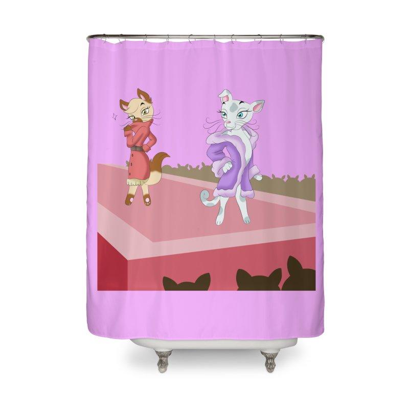 Catwalk Cats Home Shower Curtain by Purr City's Artist Shop