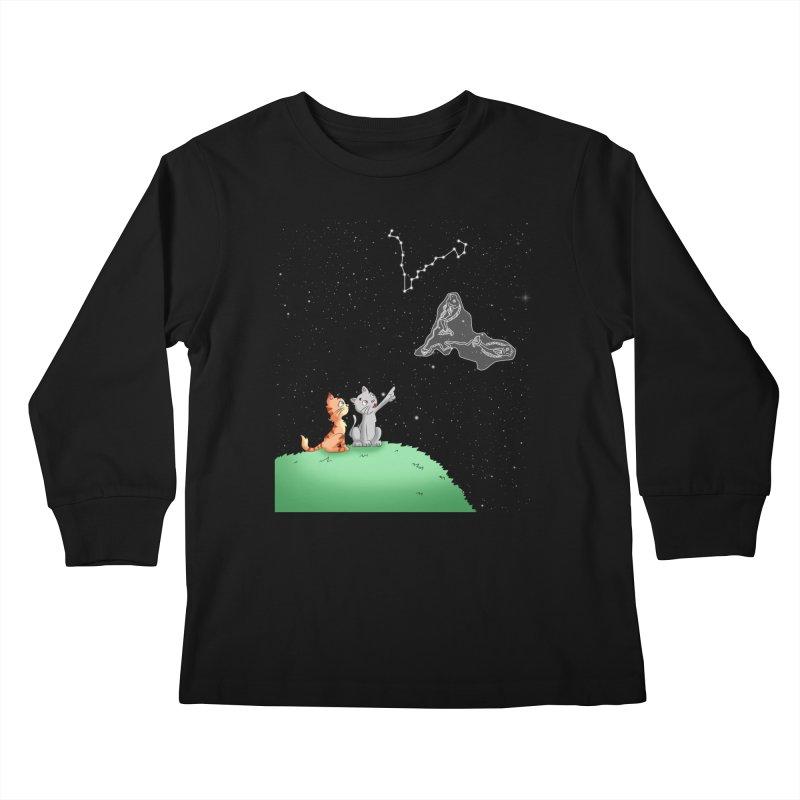 Romantic Cat - Pisces constellation Kids Longsleeve T-Shirt by Purr City's Artist Shop