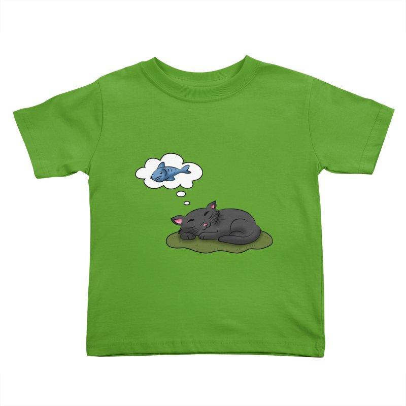Dreaming Cat Kids Toddler T-Shirt by Purr City's Artist Shop
