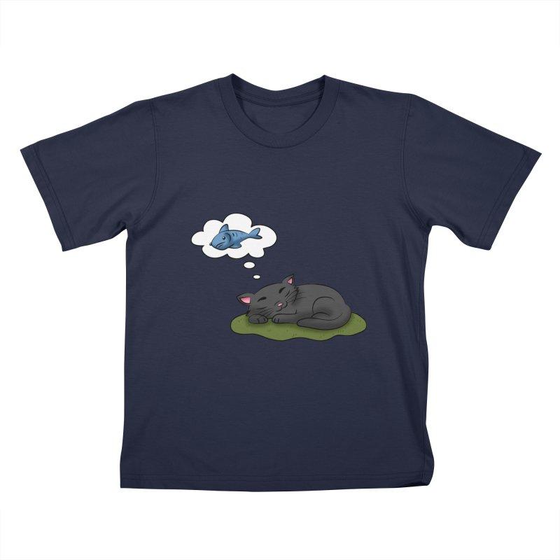Dreaming Cat Kids T-Shirt by Purr City's Artist Shop