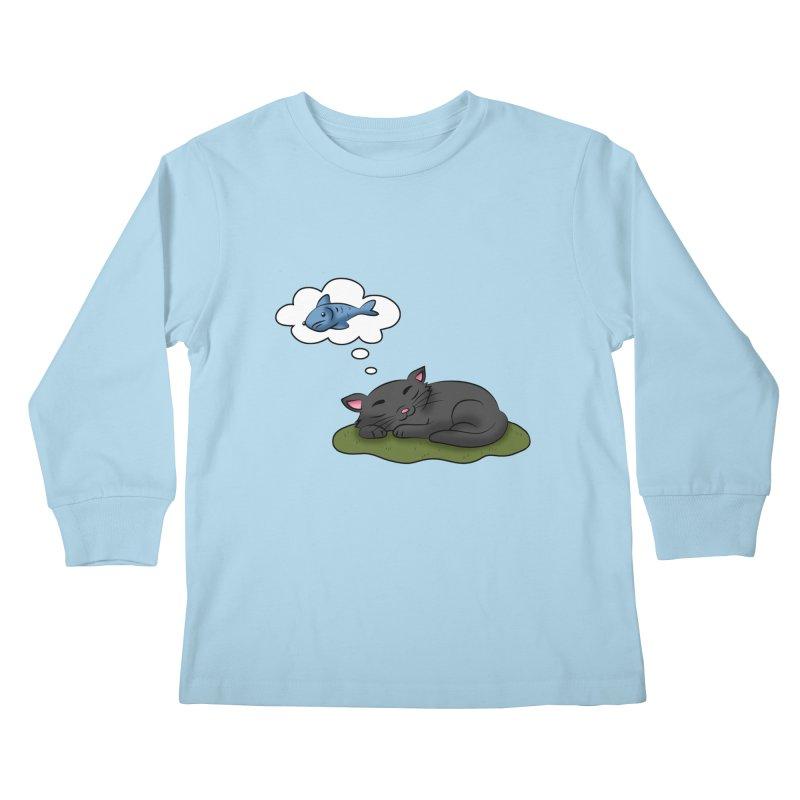 Dreaming Cat Kids Longsleeve T-Shirt by Purr City's Artist Shop