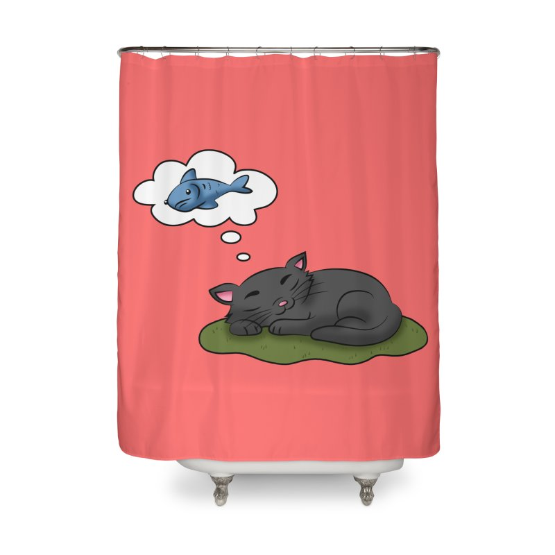 Dreaming Cat Home Shower Curtain by Purr City's Artist Shop