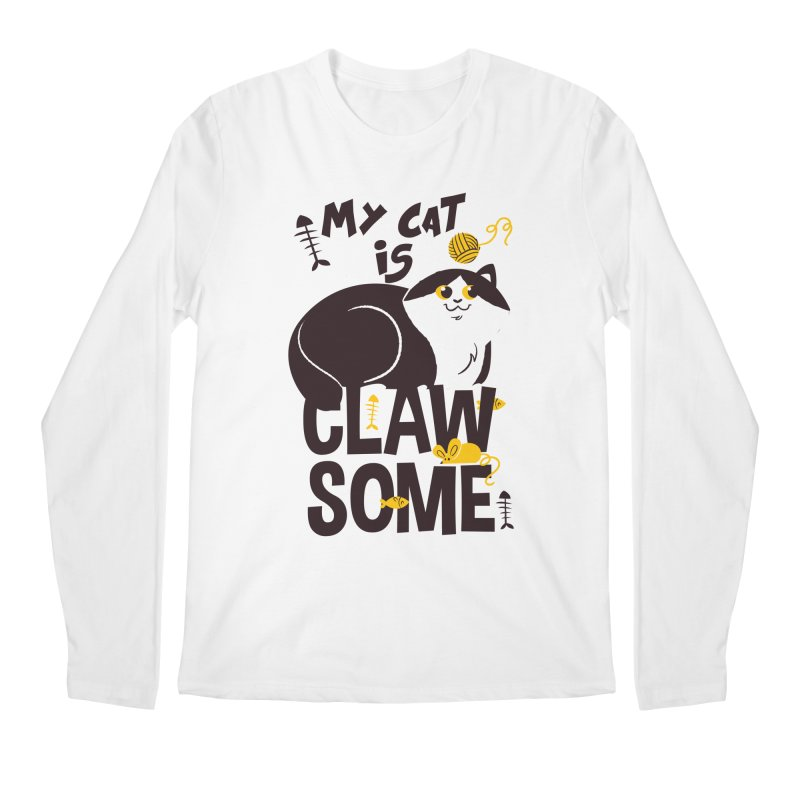 My Cat Is Clawsome Men's Regular Longsleeve T-Shirt by Purrform