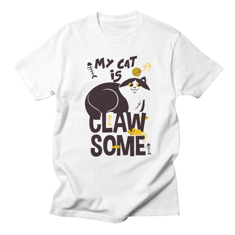My Cat Is Clawsome Men's Regular T-Shirt by Purrform