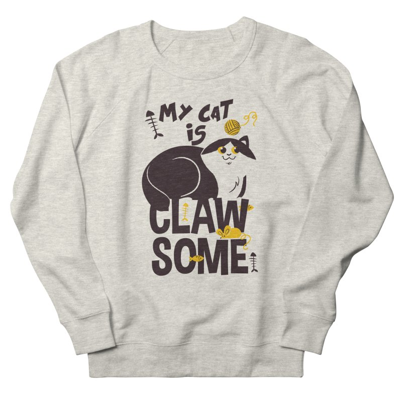 My Cat Is Clawsome Men's French Terry Sweatshirt by Purrform