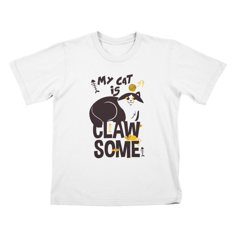 My Cat Is Clawsome Kids T-Shirt by Purrform