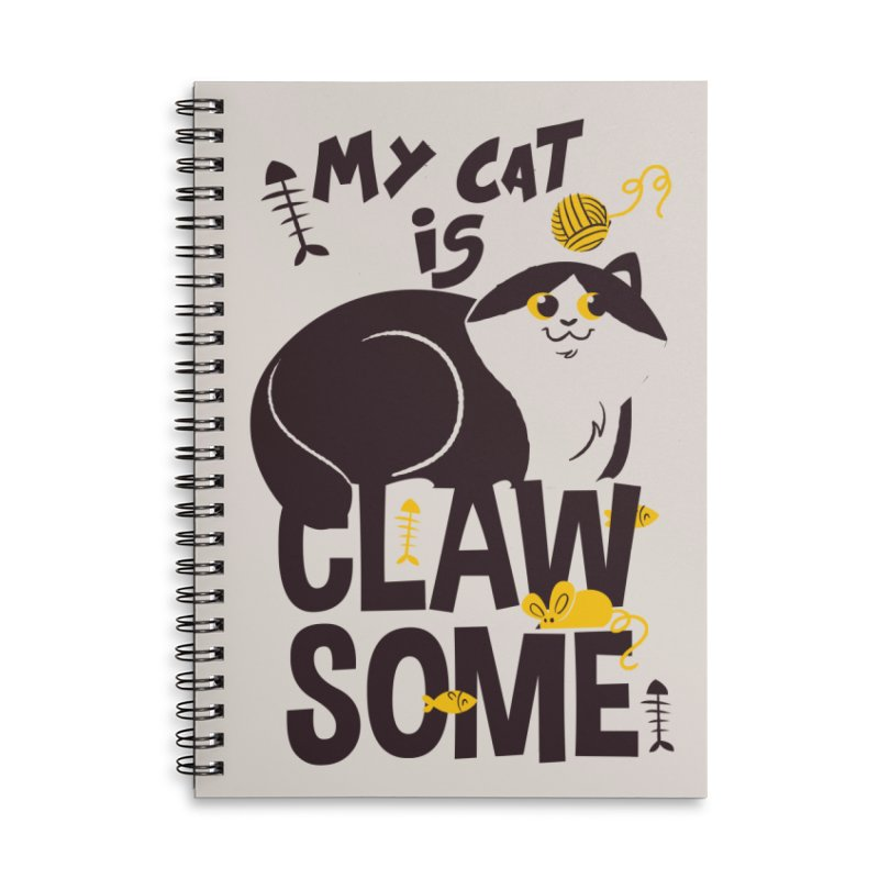 My Cat Is Clawsome Accessories Lined Spiral Notebook by Purrform
