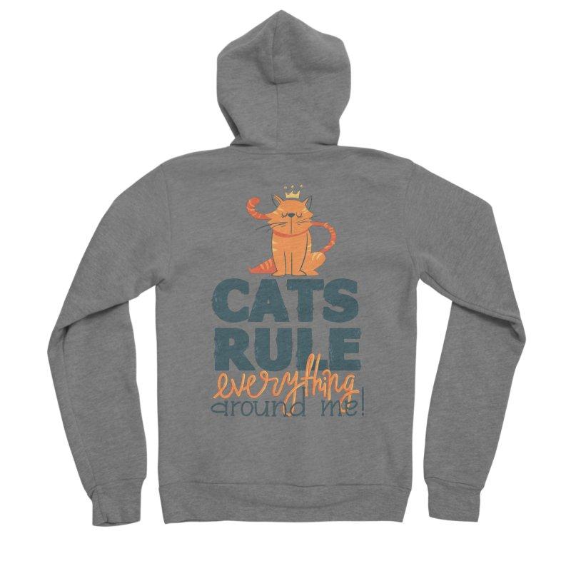Cats Rule Everything Around Me Men's Sponge Fleece Zip-Up Hoody by Purrform