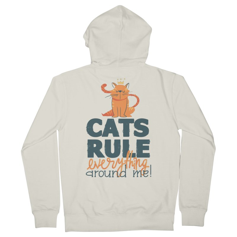 Cats Rule Everything Around Me Men's French Terry Zip-Up Hoody by Purrform