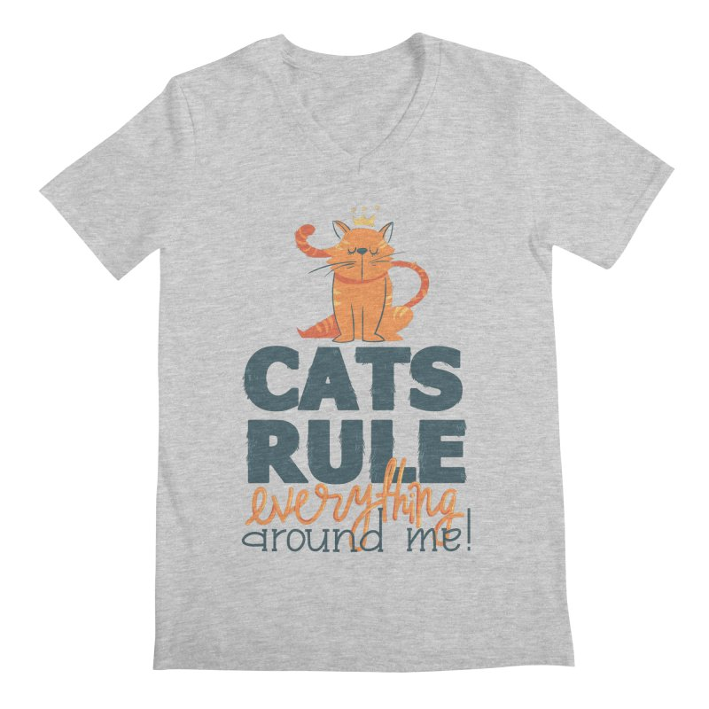 Cats Rule Everything Around Me Men's Regular V-Neck by Purrform